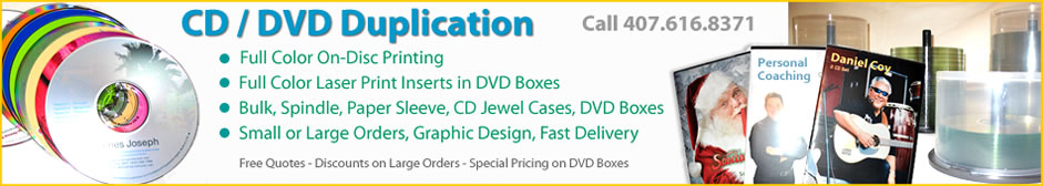 Orlando FL CD DVD duplication, packaging, and best prices for copies.