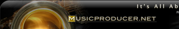 Music producer saxophone logo