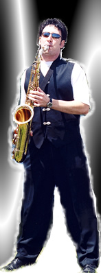 A music producer playing a jazz sax